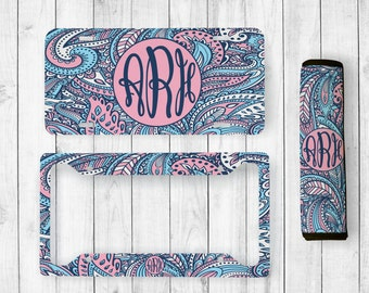 Monogrammed License Plate, Paisley Car Tag, Personalized License Plate Frame, Paisley, Monogram Seatbelt Cover, Paisley Monogram