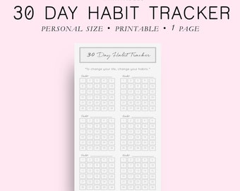 Printable Habit Tracker Printable, Personal Size 30 Day Habit Tracker, Goal Planner, Goal Tracker, Goal Journal, Planner Inserts,