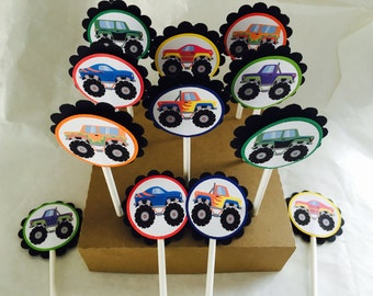 Just 12 Monster Truck Cupcake Toppers