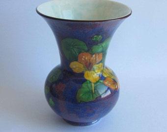 Royal Doulton Vase D6325 Deep Purple with Multi Colour Flowers
