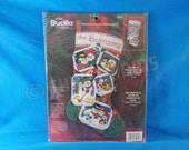 "Snowman Family Christmas Felt and Sequin Stocking Kit 2003 Plaid Bucilla 18"" Tall  XMAS  84939 Craft"