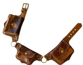 Three Pocket Leather Hip Bag / Leather belt bag / Hip bag / Leather fanny pack / Fanny pack / Boho bag / Festival / High quality / Hand made