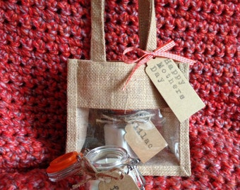 Mothers Day Gift Set with two scented soy wax candles in clip top jars