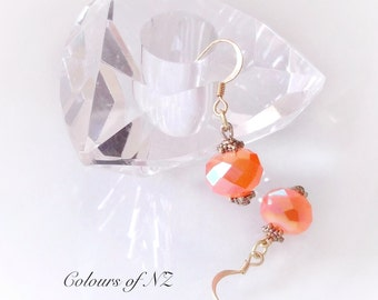 Soft Peachy Mandarin AB Coated Facet Bead Earrings