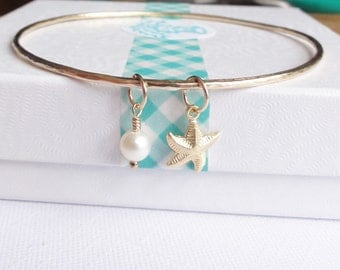 Starfish and Fresh Water Pearl 14K Gold Filled Skinny Bangle