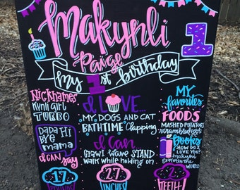 Birthday Chalkboard/ cupcake Chalkboard / First Birthday / Chalkboard Birthday Sign / cupcake Party / chalkboard / hand painted