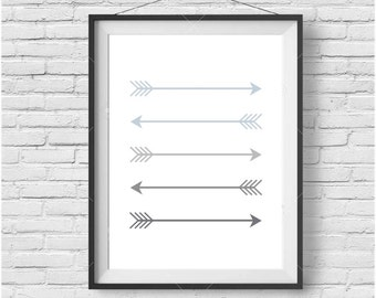 Blue Arrow Art, Nursery Print, Tribal Print, Kids Room Art, Blue Gray Poster, Minimalist Arrow Print, Simple Wall Decor, Digital Download