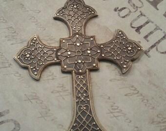 NEW! antiqued brass ornate cross 1 pendant