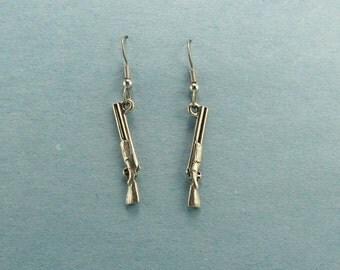 Shotgun Earrings - Gun Earrings -  Shotgun Charm Earrings - Shotgun Jewelry Earrings  Hunter Trap Skeet Sporting Clays - Second Amendment