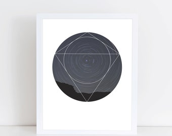 Spinning Universe Art Print - Inspirational Stars Space Wall Art, Colorful Sky Geometric Photography Art, Printable Planets Night Poster