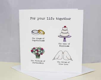 Greetings card ' For your life together' wedding/civil ceremony card