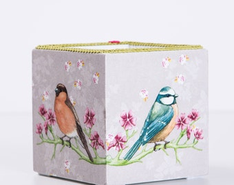 Wooden box with decoupage - bird