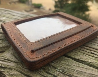 Crazy Horse Leather Mens Minimalist Wallet- Features ID window and 5 extra pockets for cards