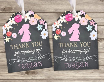 Gift Tags Some bunny is turn one Floral Favor Thank You Tags TT033