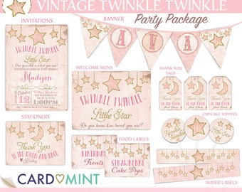 BIRTHDAY Set Twinkle Twinkle Little Star Baby Shower Invitations Shabby Pink and Gold Glitter Baby Girl Printable Party Package NV1003