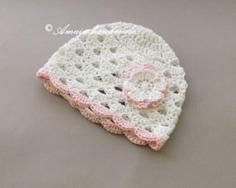Baby girl beanie, baby girl sun hat, baby girl summer hat, newborn sun hat, newborn girl hat, baby girl hat, Crochet baby hat, newborn hat