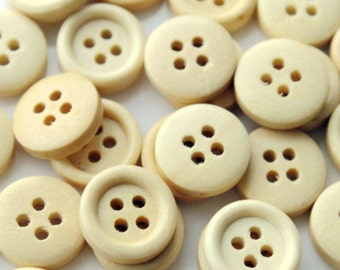 100pcs 18mm Round Wood Buttons 4 Holes Wood Sewing Buttons Wood Button NK0079