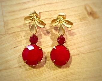 Vintage Opaque Cherry and Siam Red Swarovski Rhinestone Drops, Dainty Gold Leaf Earrings, Women's Earrings, Women's Jewelry, Free Shipping