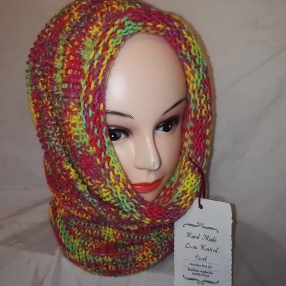 RETRO colour mix Handmade scarf cowl double knit extra thick ski snowboard garden one size unisex wool #retro #handmade #knitwear