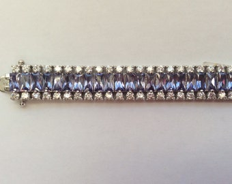 Vintage Glamour Cubic Zirconia and Purple Crystal Sterling Bracelet