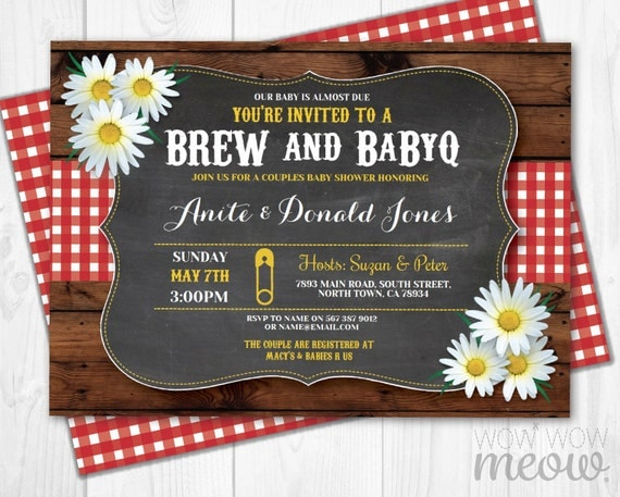 Brew and BaByQ Invitations Baby Shower Co-Ed Couples Invites