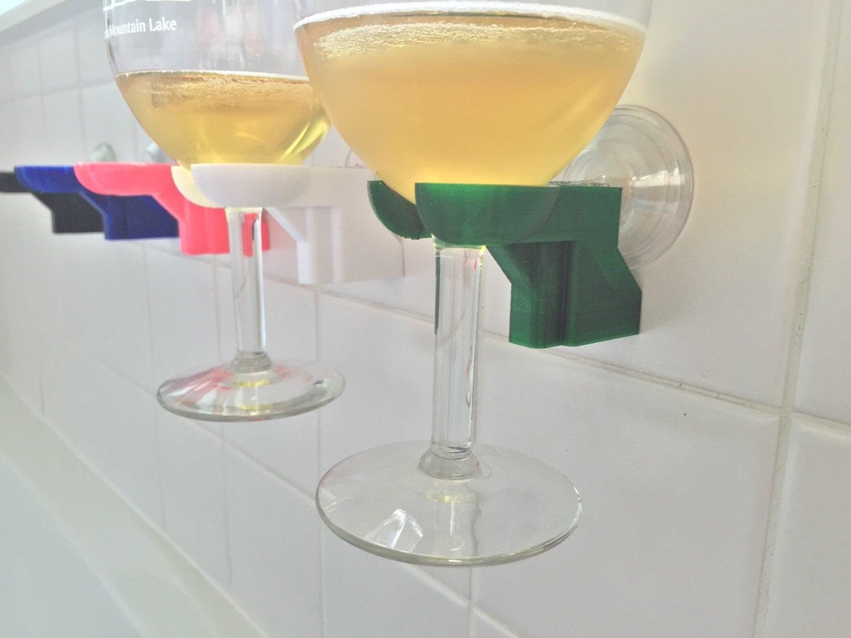 Bathtub Shower Wine Glass Holder Pick Your Color 3d