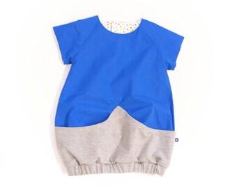 Carmencita – Blue balloon dress with big pocket, Size 86-92 (2-3 y.)
