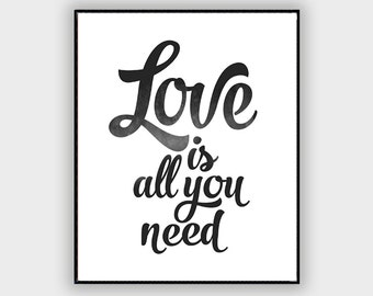 Love is all you need, Beatles poster, Beatles art, Song lyrics Art, Song lyrics wall art, The Beatles art, Typography art, Typography print
