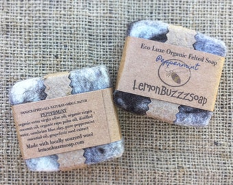 Peppermint Organic Felted Soap+Small Batch+One Of A Kind+Seed Paper+Handcrafted Soap+Exfoliating+Organic Soap+Gift For Her+Gift For Him