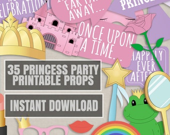 35 Princess Party Printable Props, diy princess party photobooth decor, pink princess girls night in photo booth prop ideas, princess crowns