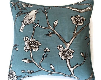 "18"" Decorative Bird Corded Pillow Cover - Blue 18x18"