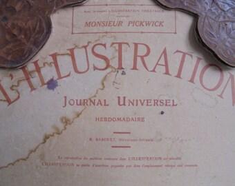 "French vintage shield v French newspaper ""lïllustration""/journaal universal/""/1930"