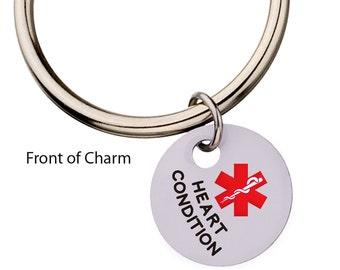 Heart Condition Medical Alert Keychain, Heart Condition ID Keychain, Charm Keychain, Heart Condition Medic Alert,94