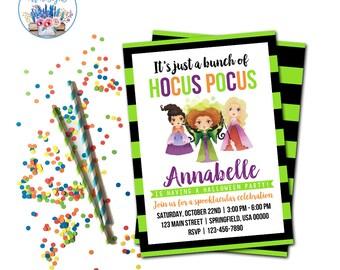Hocus Pocus Halloween Party Invitation, Hocus Pocus Invite, Halloween Party Invitation, Witch Invite