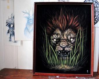 "At Night IV - Original black velvet painting 16"" x 20"""