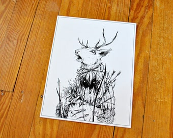 "Hunter I - Illustration, 8"" x 10"" print"