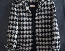 Vintage Wool Pendleton Jacket | Women's Size 8 Houndstooth Black and White Pendleton Jacket | 49er Pendleton Women's Jacket | Wool Coat
