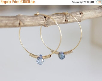 ON SALE YOU And I | Earrings aquamarine and gold 14 k