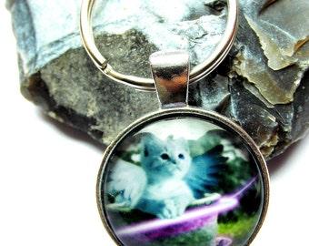 Key chain key ring cabochon cat