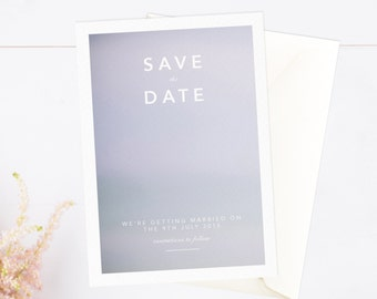 Boho simple modern save the date card with lilac tones - envelopes included.