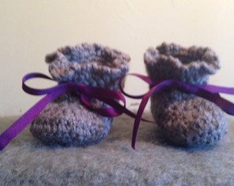 Gray Crochet Baby Booties with Purple Ribbon