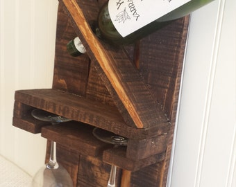 wine rack with glass holder