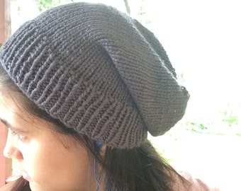 Charcoal Colored Slouchy Beanie