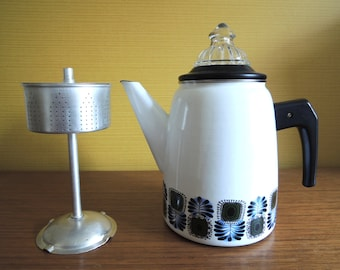 Vintage 60s Austrian Enamel Coffee Percolator / Coffee Pot / Austrian Email / 70s Flower Pattern