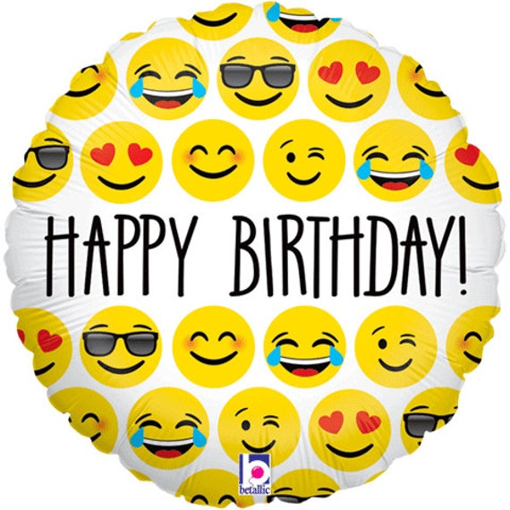 "Emoji Balloon 18"" Happy Birthday Round Foil Balloon"