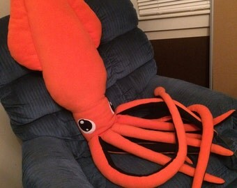 Custom Made To Order Giant Squid Pillow Plush