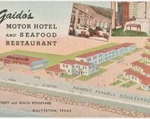 Gaido's Motor Hotel and Seafood Restaurant Galveston Texas Vintage Postcard by Curt Teich