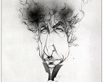BOB DYLAN - Large  limited edition giclee print signed and numbered by the illustrator.