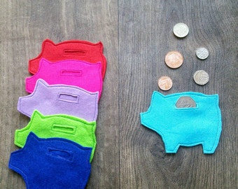 Children's felt piggy bank purse