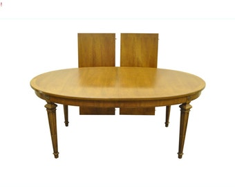 10% Off Sale! Vintage Neoclassical Style Thomasville Banded Top Walnut Oval Dining Banquet Table